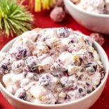 Cranberry Fluff! This cranberry fluff salad is a cool-weather side dish or dessert that combines tart cranberries, sweet pineapple, and fresh apples with soft cream and walnuts. | HomemadeHooplah.com