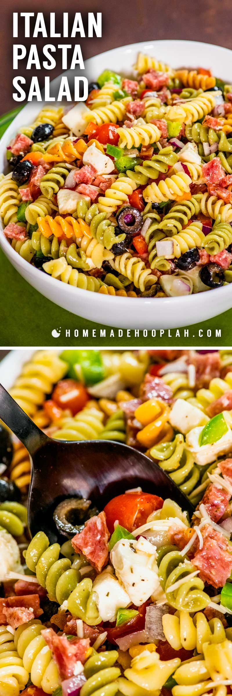 How to make Italian pasta salad with tri color rotini pasta.