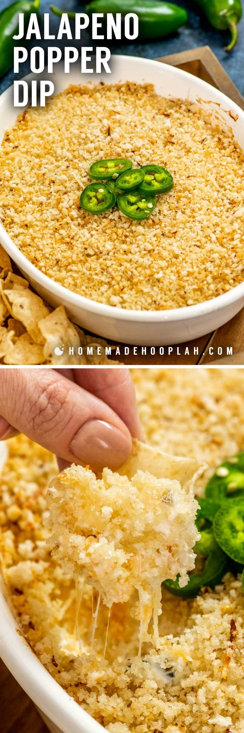 Jalapeno Popper Dip! With warm, gooey cheeses, spicy jalapenos, and a crunchy panko topping, this jalapeno popper dip is the fun, crowd-pleasing twist on the popular finger food. | HomemadeHooplah.com