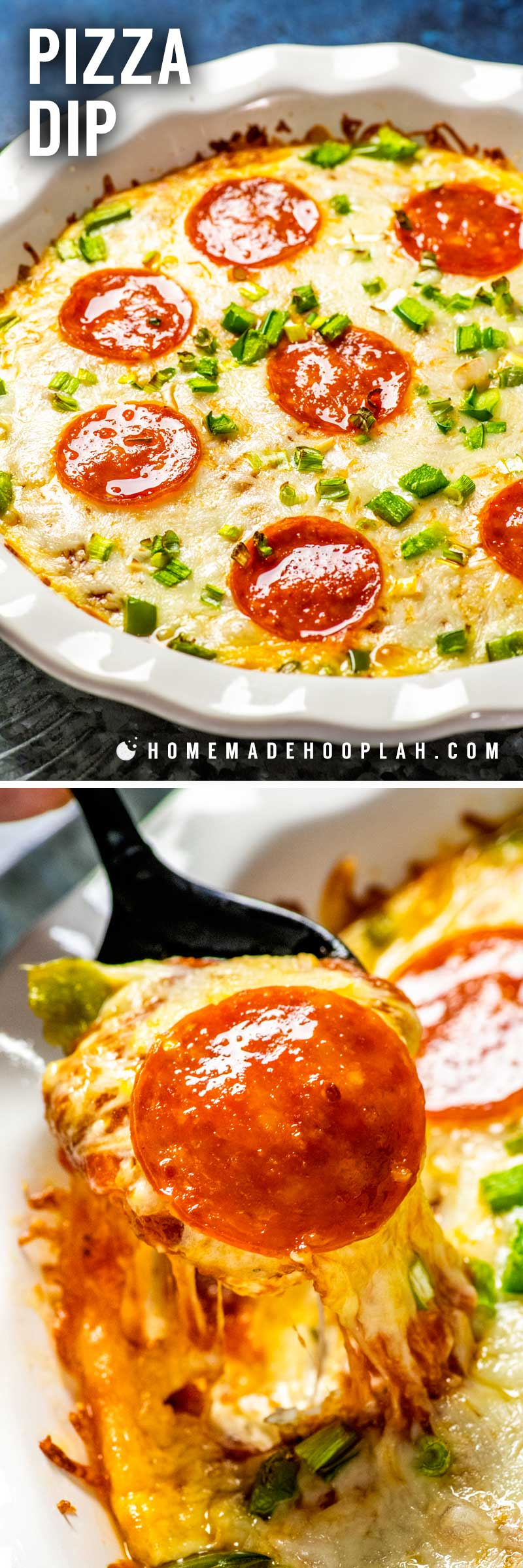 Pizza Dip! This easy pizza dip appetizer is the fun way to enjoy this party food classic. Ready faster than delivery and you can customize it with your favorite toppings! | HomemadeHooplah.com