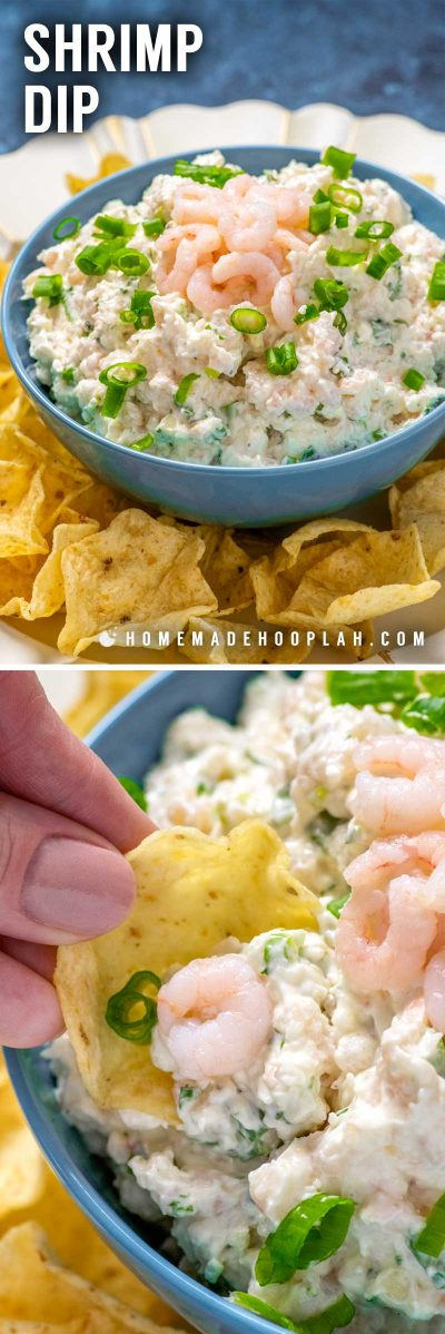 Shrimp Dip! With a creamy texture and tons of flavor, this easy shrimp dip recipe is loaded with diced salad shrimp and is great for serving with mild chips or veggies. | HomemadeHooplah.com