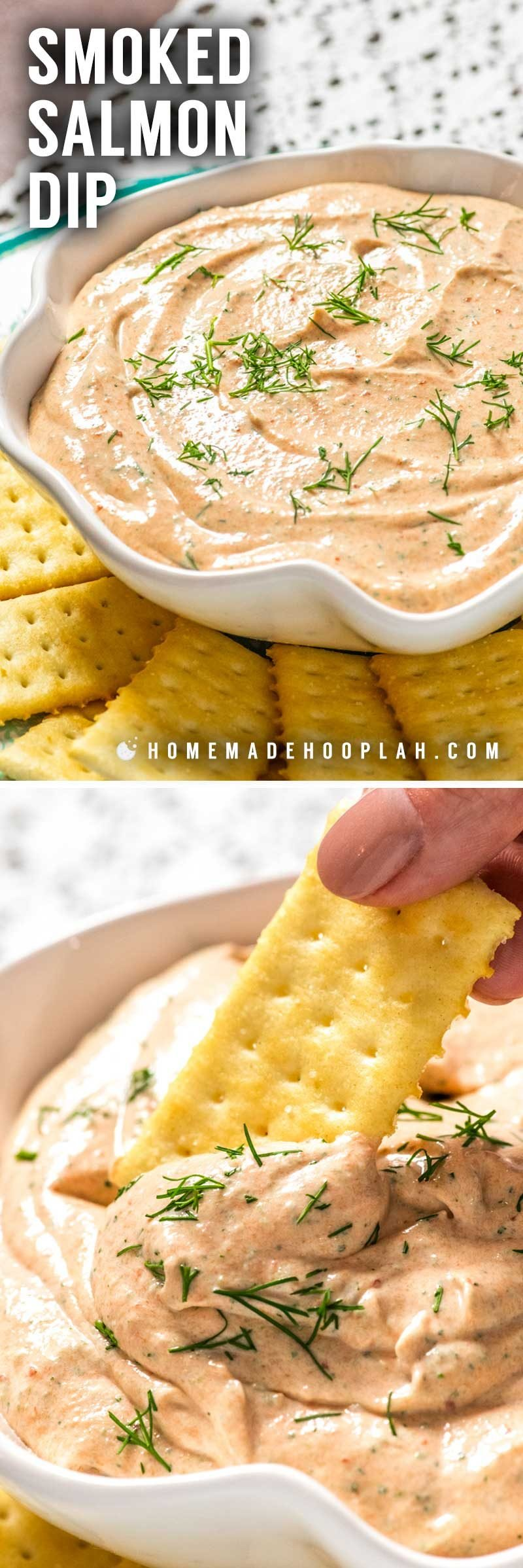 Smoked Salmon Dip! Smooth and creamy smoked salmon dip has all the flavor of smoked salmon with hints of lemon, dill, and capers. Great spread on bagels or to dip with crackers. | HomemadeHooplah.com