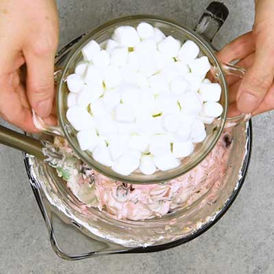 Cranberry Fluff Step 4 - Add mini marshmallows.