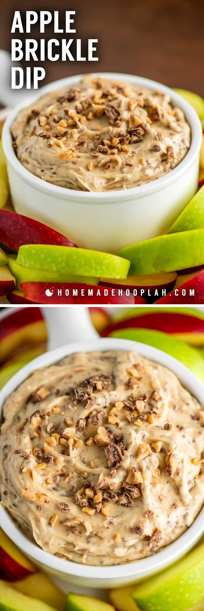 How to make a fruit dip with toffee bits or crushed Heath bars.