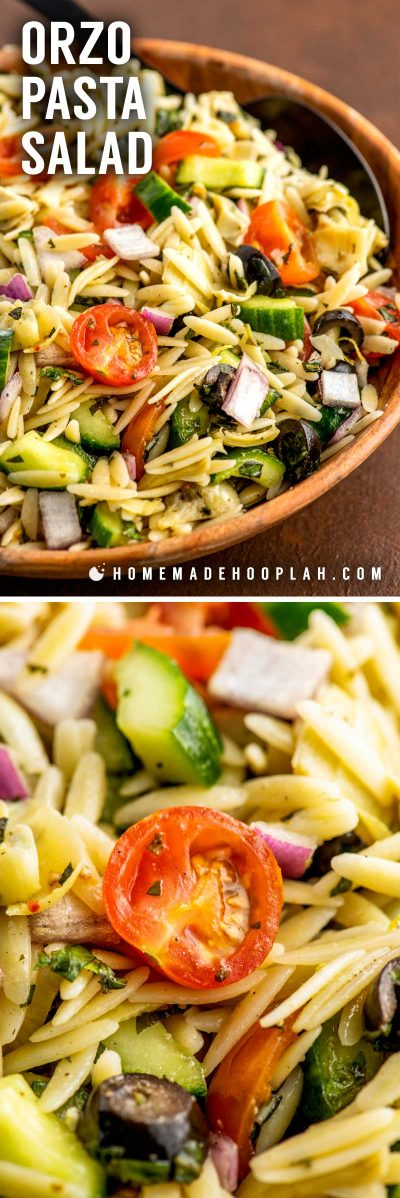 Orzo Pasta Salad! This classic orzo pasta salad is a colorful mix of fresh chopped veggies with tender orzo pasta and coated in a flavorful homemade lemon-dijon vinaigrette. | HomemadeHooplah.com