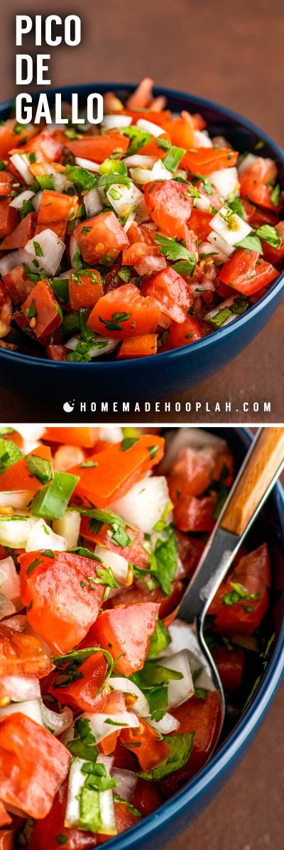 Homemade Pico de Gallo! Used as salsa or garnish, this homemade pico de gallo recipe is easy to whip up on a whim and perfect for adding a dash of Mexican flavor to any dish or dip! | HomemadeHooplah.com