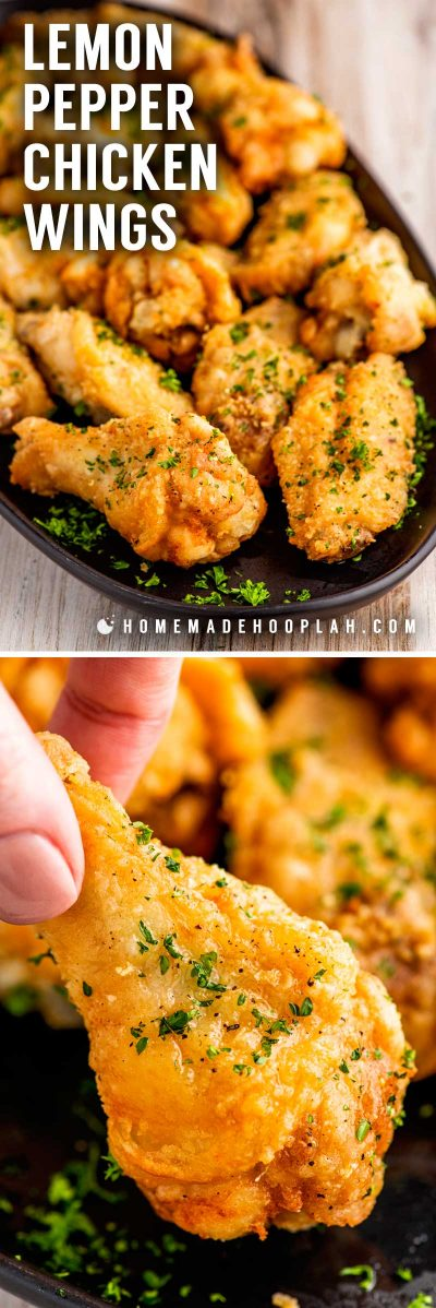 Lemon Pepper Chicken Wings! These lemon pepper chicken wings are freshly fried and coated in melted butter and lemon pepper seasoning. Perfect as party food or a quick weeknight dinner! | HomemadeHooplah.com