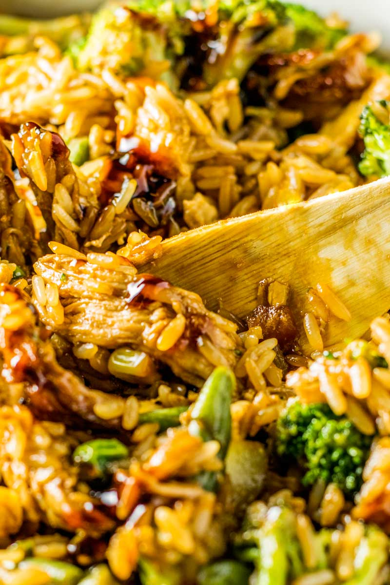 Chinese casserole with chicken, teriyaki, vegetables, and fried rice.