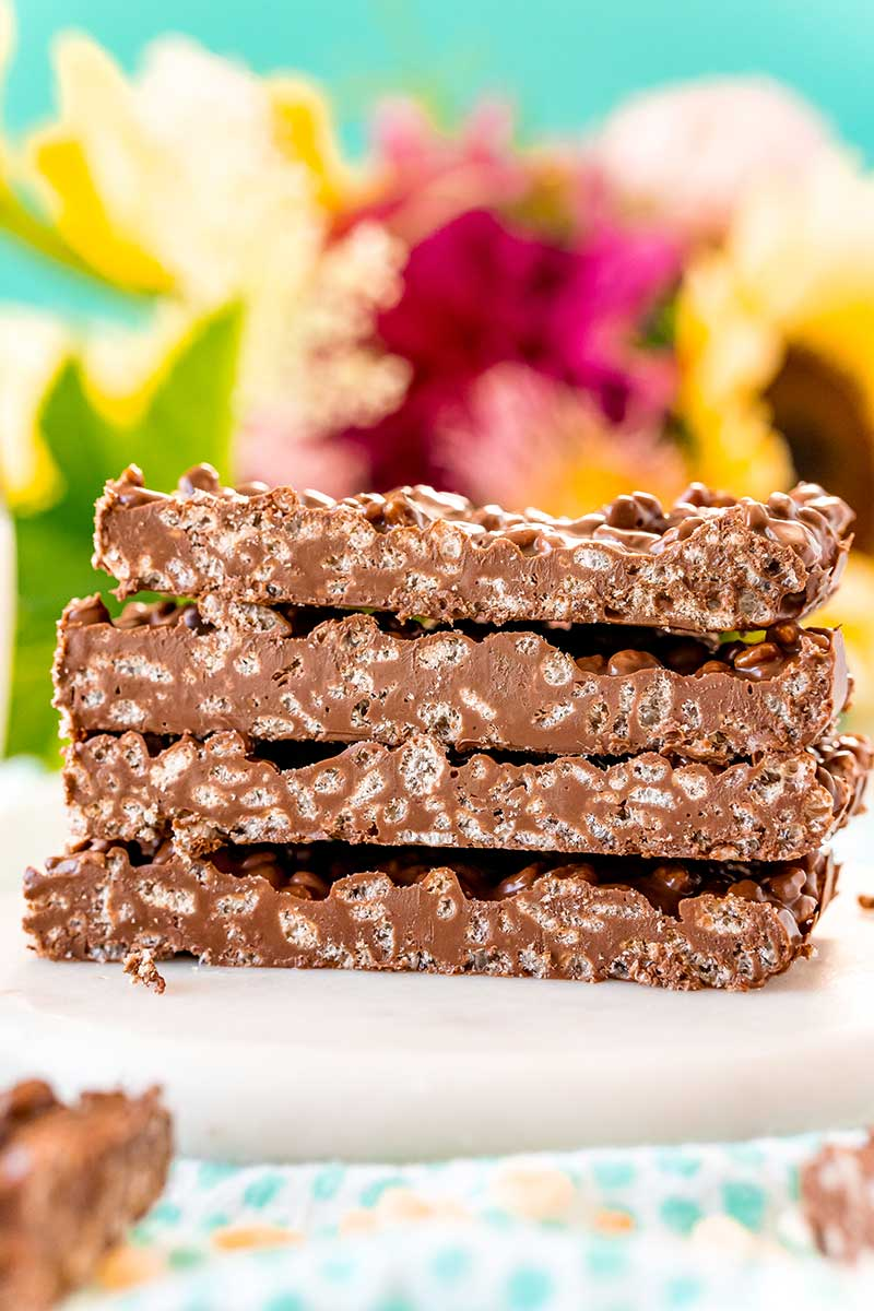 Homemade Nestle crunch bars cut and stacked