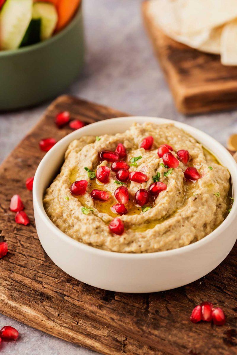 Baba ganoush recipe garnished with pomegranate seeds