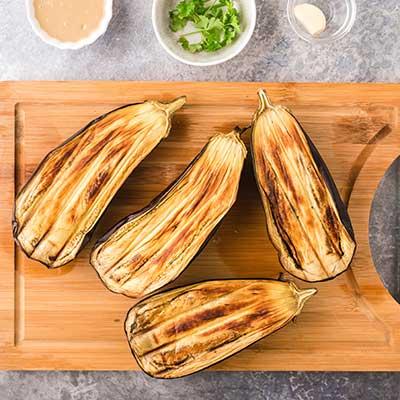 Baba Ganoush Step 1 - Cook eggplants until flesh is tender.