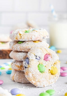 Cool whip cookies made with cake mix and M&M's