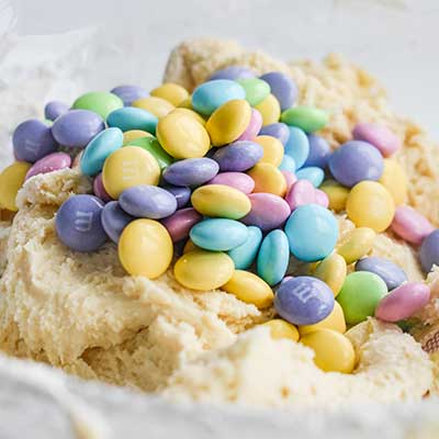 Cool Whip Cookies Step 2 - Add M&M's to bowl.