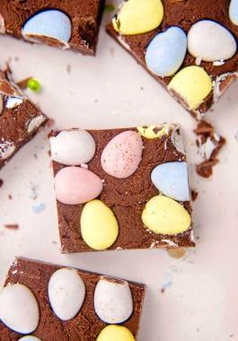 Easter fudge made by adding Cadbury Mini Eggs to chocolate fudge.