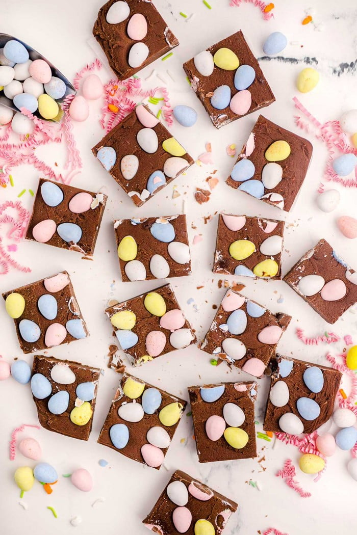 Easter fudge cut into squares.
