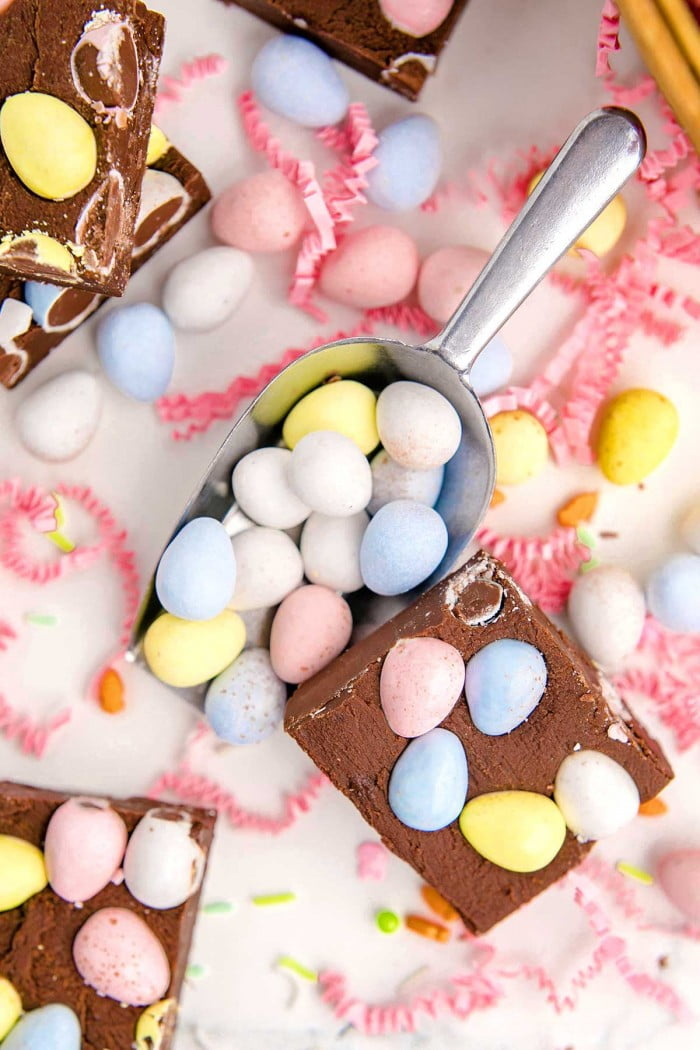 Easy Easter fudge with Cadbury Mini Eggs and crinkled paper decoration.