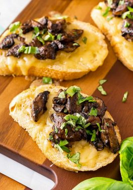 Tender cooked mushrooms on toasted baugette