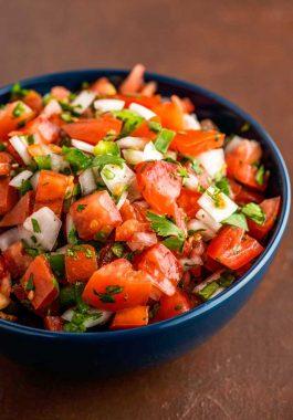 A bowl full of fresh pico de gallo.