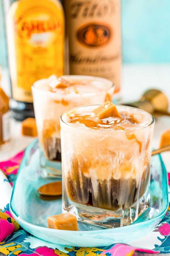 Classic White Russian cocktail flavored with salted caramel.