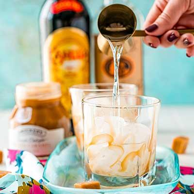 Salted Caramel White Russian Step 2 - Add vodka.
