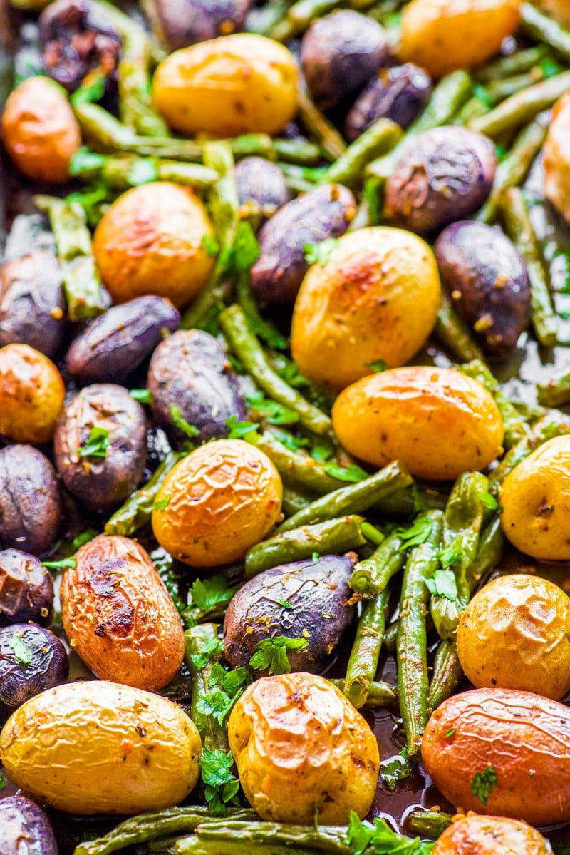 Tender baked green beans and baby potatoes.