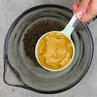 Puppy Chow Step 1 - Add peanut butter.