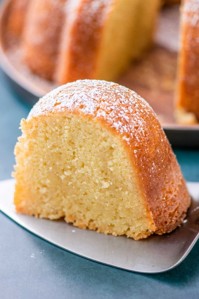 Slice of Kentucky butter cake dusted with powdered sugar.