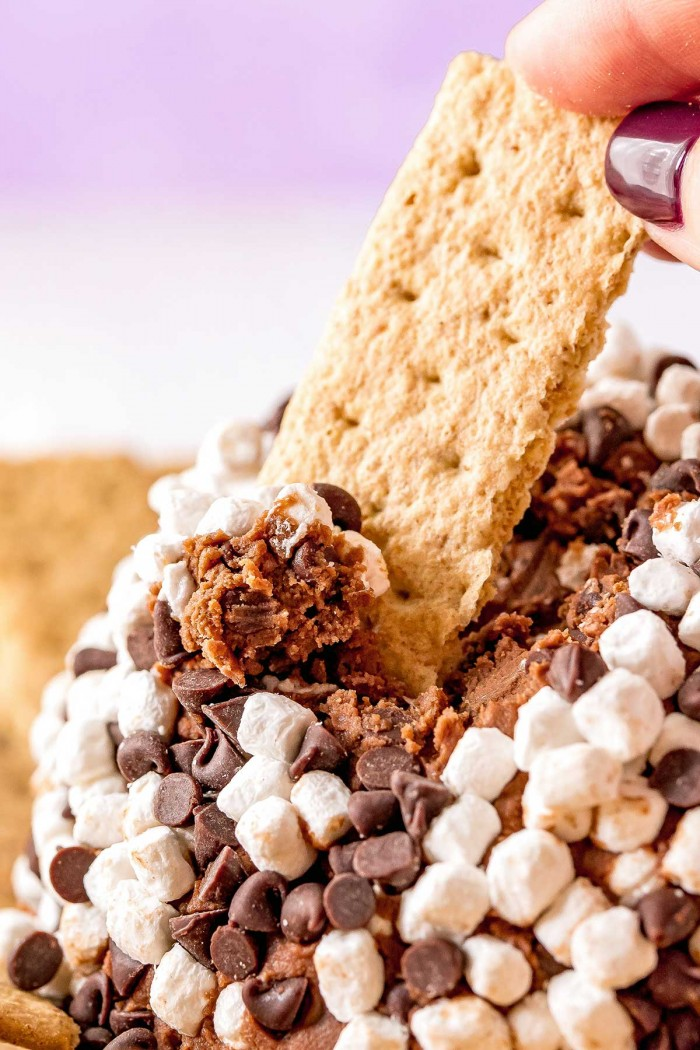 Dipping a graham cracker in prepared s'mores cheese ball.