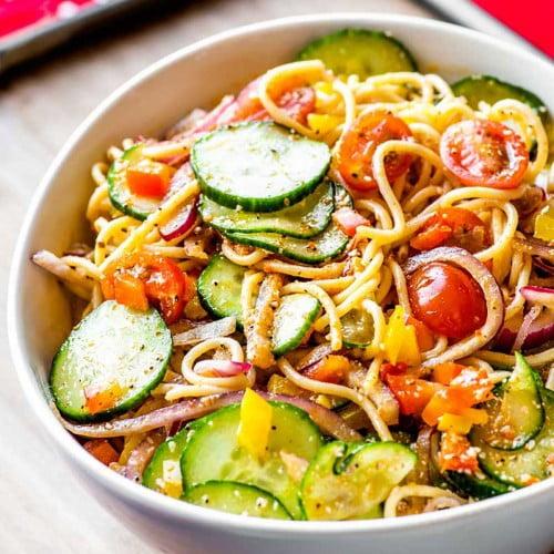 Spaghetti pasta salad recipe in a bowl.