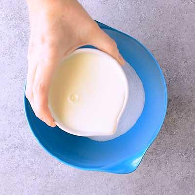 Cotton Candy Ice Cream Step 1 - Add milk.