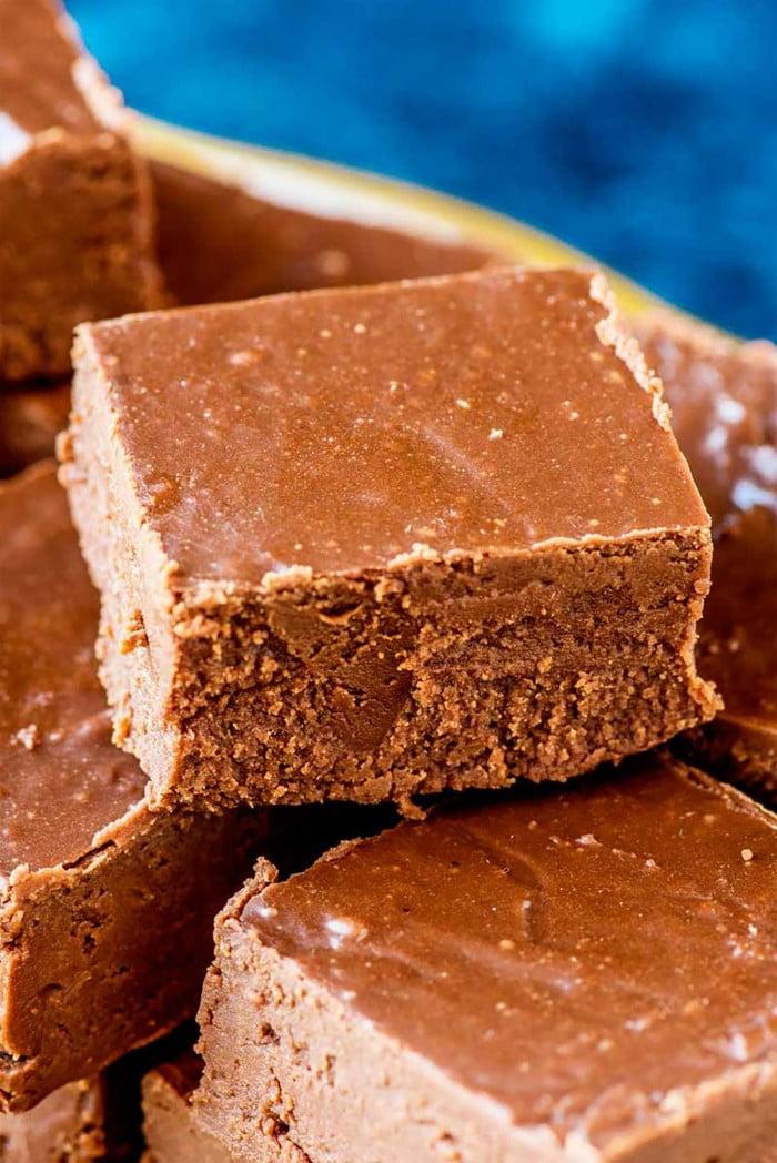 Square of 3 chocolate fudge.