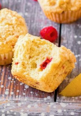Soft and fluffy homemade lemon raspberry muffins.