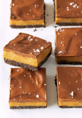 Chewy peanut butter bars with flaky sea salt.