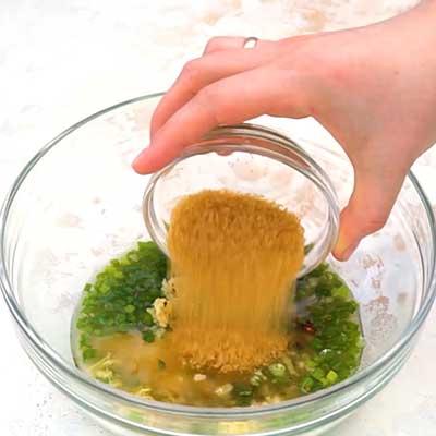 Crock Pot Bourbon Chicken Step 1 - Add light brown sugar.