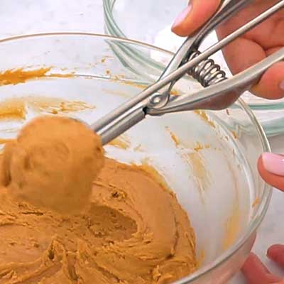 Peanut Butter Brownie Bombs Step 3 - Scoop up peanut butter filling