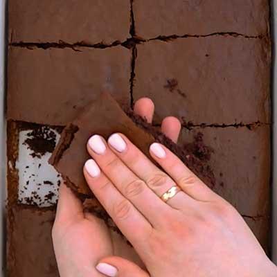 Peanut Butter Brownie Bombs Step 4 - Flatten brownie.