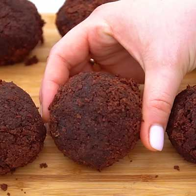 Peanut Butter Brownie Bombs Step 4 - Place brownie bombs on a baking sheet.