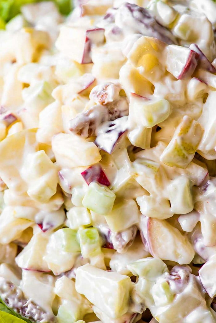 Closeup of chopped fruit and vegetables in Waldorf salad.