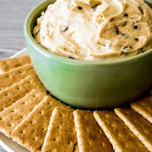 Cookie dough dip served with graham crackers.