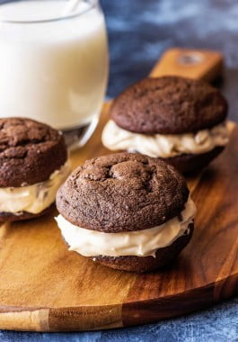 Three whoopie pies filled with cookie dough filling.