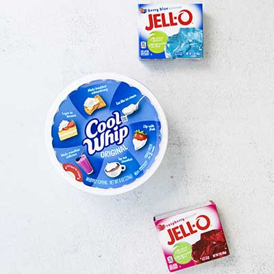 Red, White, and Blue Layered Jello Step 1 - Arrange ingredients together.
