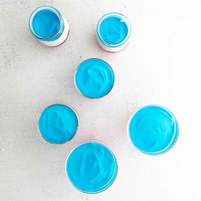 Red, White, and Blue Layered Jello Step 3 - Add blue jello layer to jello cups.