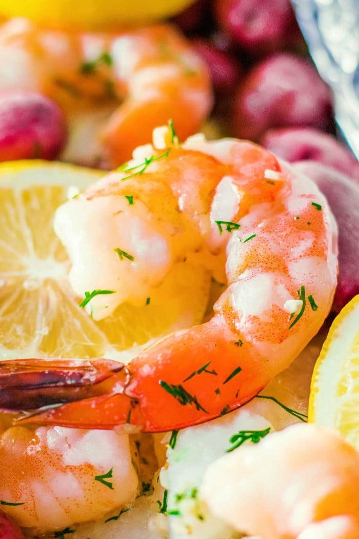 Closeup of cooked shrimp on a sliced lemon.