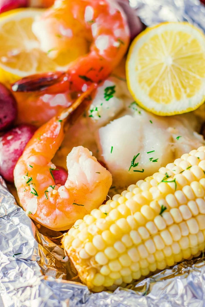 Seafood bake in foil.