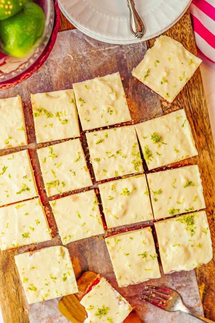 Top down view of creamy lime bars.