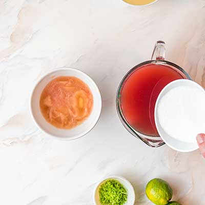 Watermelon Tequila Lime Bars Step 3 - Bloom gelatin in watermelon and lime juice.