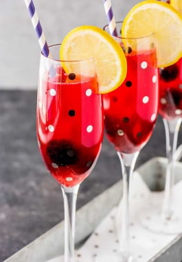 Bourbon lemonade flavored with blackberry rosemary syrup.