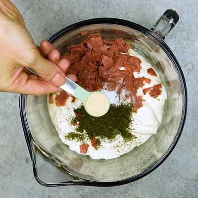 Chipped Beef Dip Step 1 - Add onion powder.