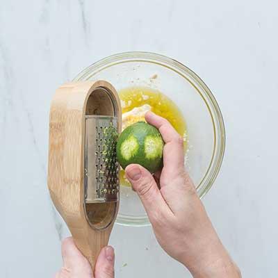 Greek Chicken Skewers Step 1 - Add lime zest.