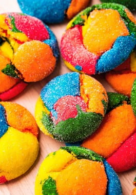 Colorful rainbow cake mix cookies.